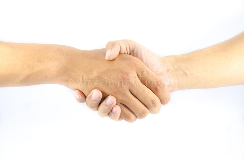 Two asian man shake hand. On isolated stock images