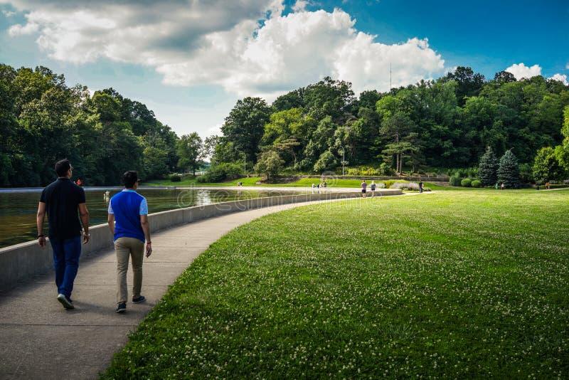 Two Asian men are walking in a park, Cincinnati, Ohio stock photos