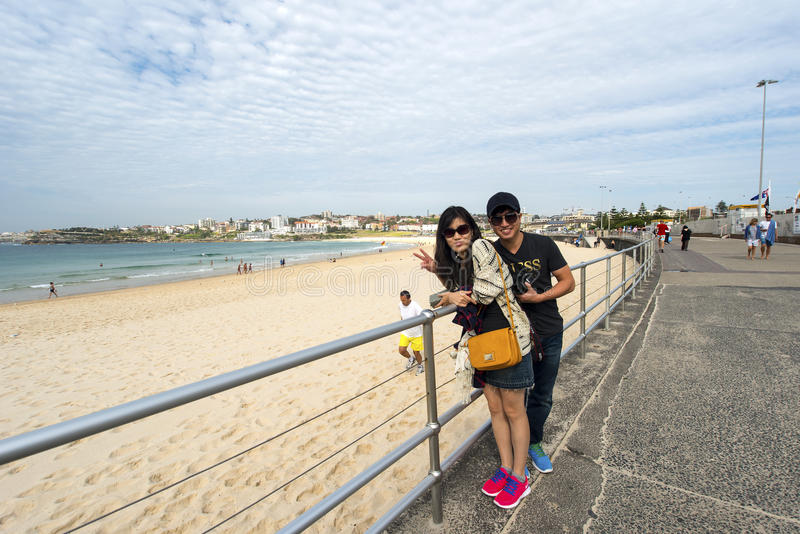 Two Asian tourists at Bondi Beach stock photo
