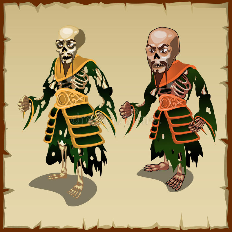 Two Asian zombies in the traditional rags costumes stock illustration