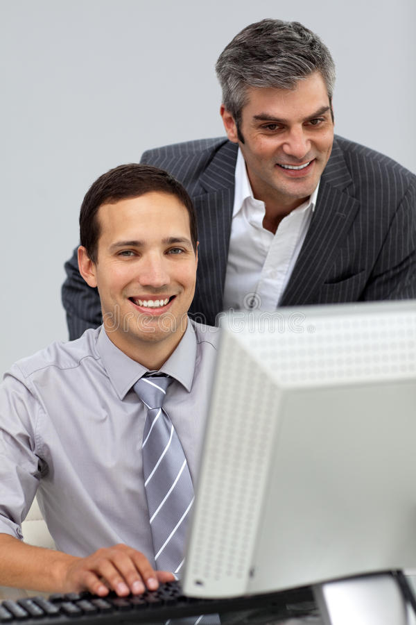 Download Two Assertive Businessmen Working Together Stock Image - Image: 12257303