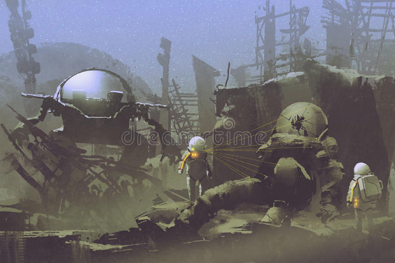 Two astronauts found a dead spaceman. Exploration sci-fi concept of two astronauts found a dead spaceman in abandoned planet,illustration painting stock illustration