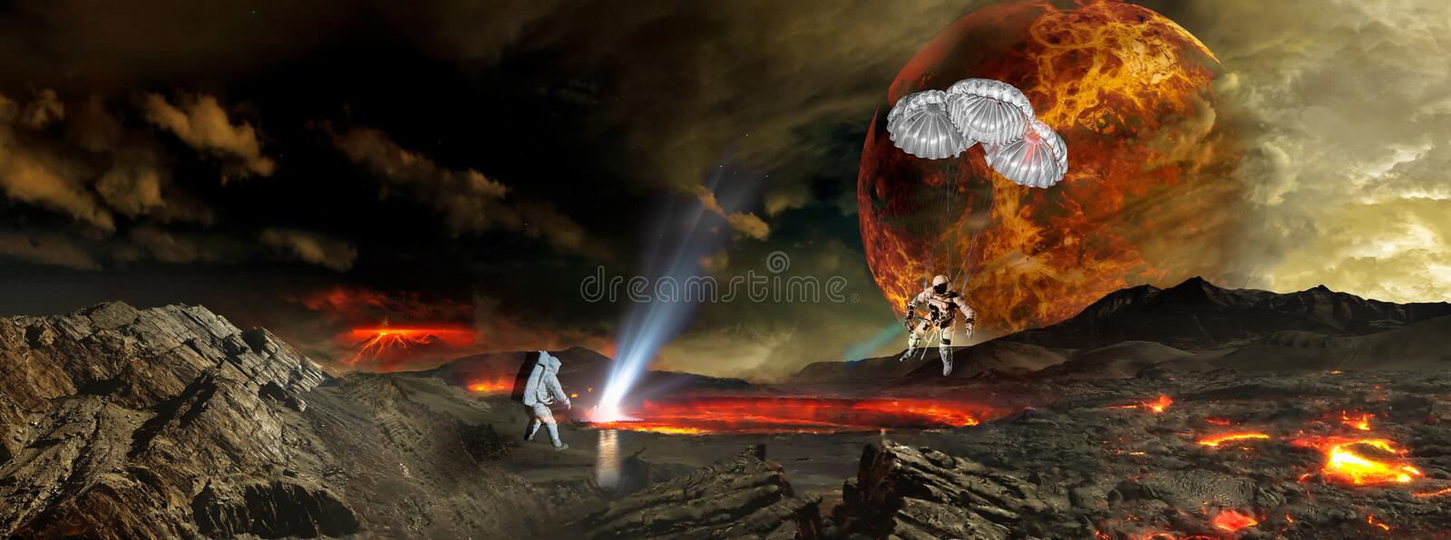 Two astronauts landing on the distant alien planet. stock illustration