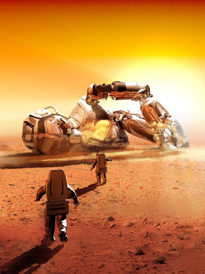 Amazing discovery on planet Mars royalty free illustration