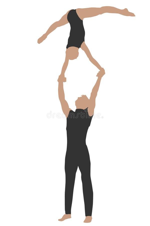 Two athletes do exercises royalty free illustration