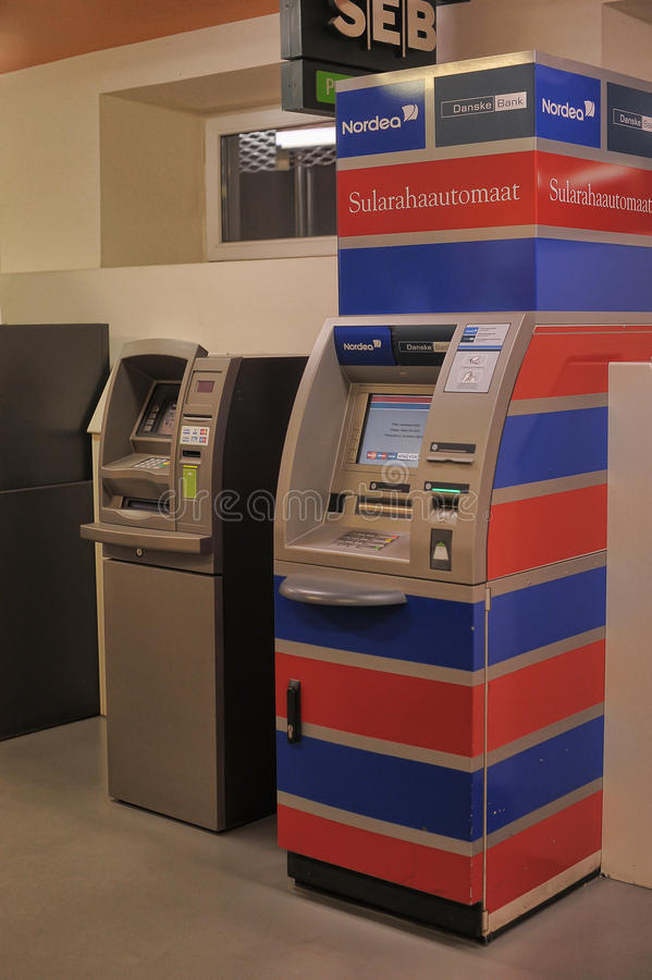 Two ATMs in the indoor. Bus station. Estonia, Tallinn royalty free stock image