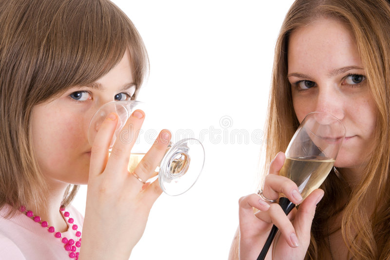 Download Two Attractive Girls With Glasses Of Wine Isolated Stock Photos - Image: 4848123