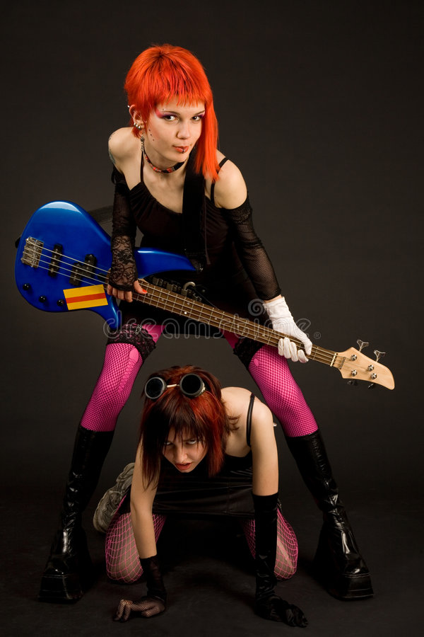 Two Attractive Girls With Guitar Royalty Free Stock Image