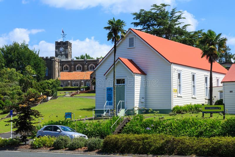Historic St. Peter`s Anglican Cathedral and hall, Hamlton, New Zealand royalty free stock photos