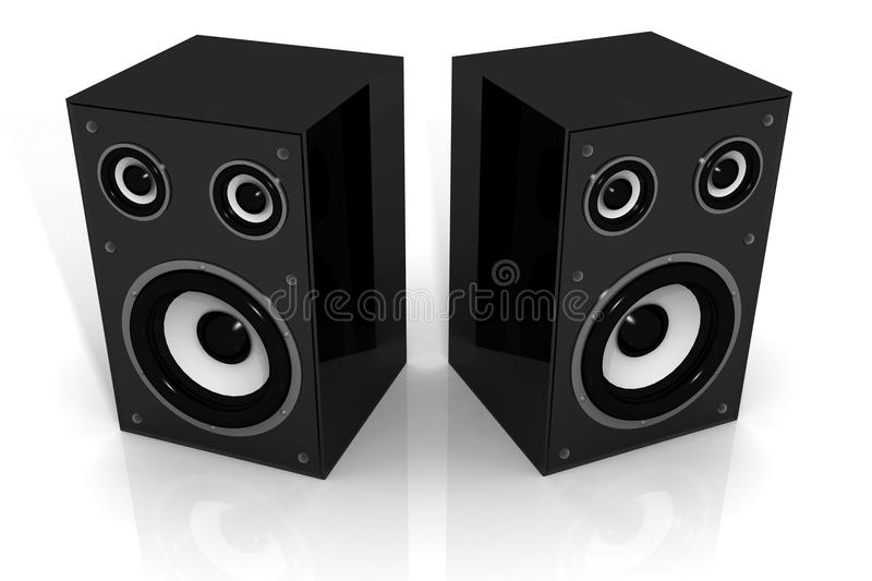 Two audio speakers. 3d illustration of Two audio speakers isolated background vector illustration