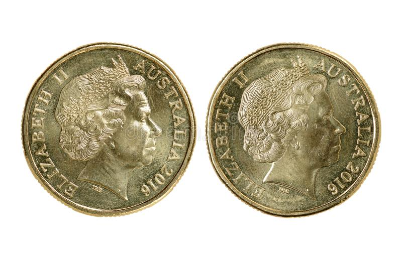 Two Australian dollar coin. Isolated on white background stock images