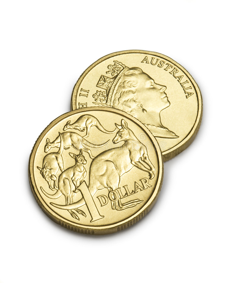 Two Australian One Dollars royalty free stock photography