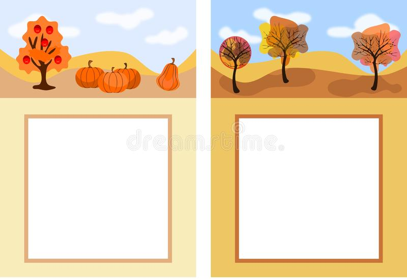 Two autumn patterns with sky, trees, pumpkins and free space for your message stock illustration