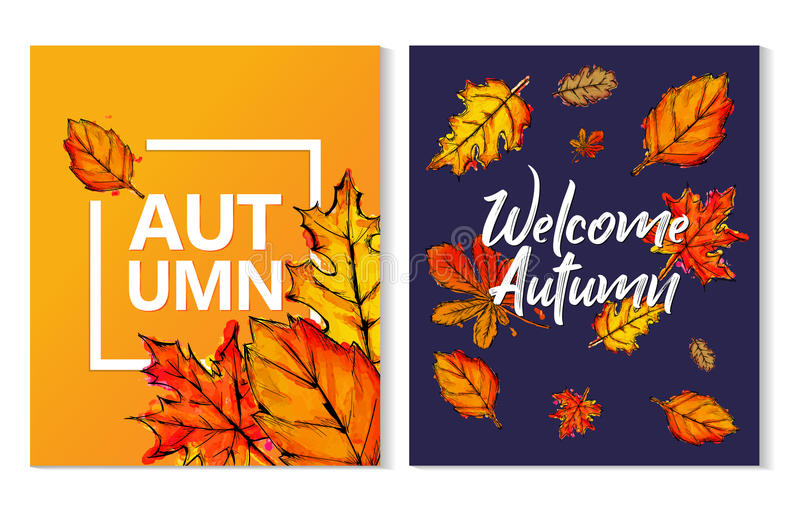 Two Autumn Typographic Paint Watercolor Fall Leaves Poster stock illustration