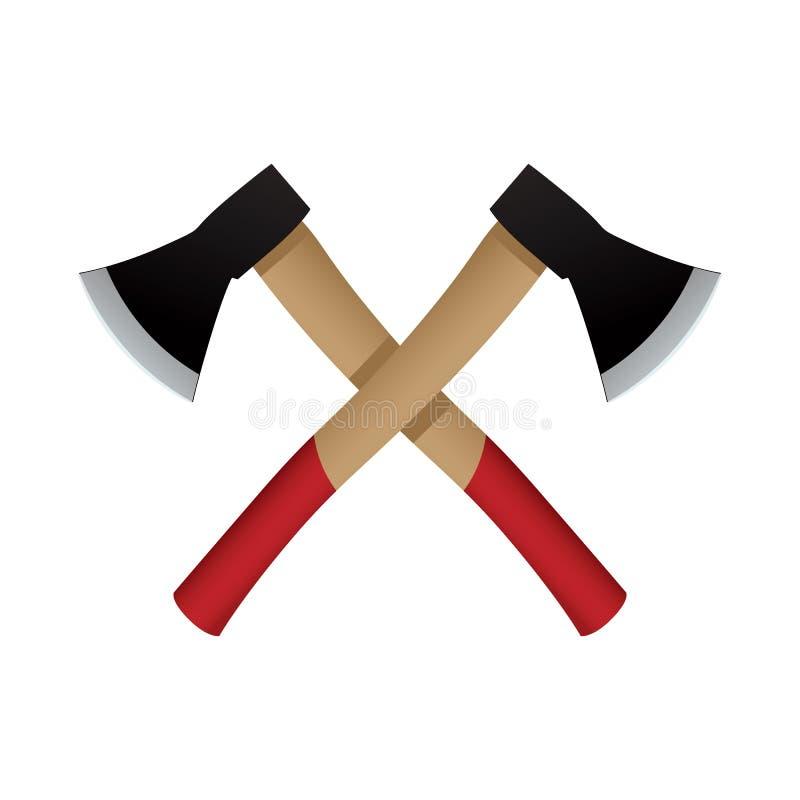 Two Axes Emblem, Vector Icon. Stock Vector