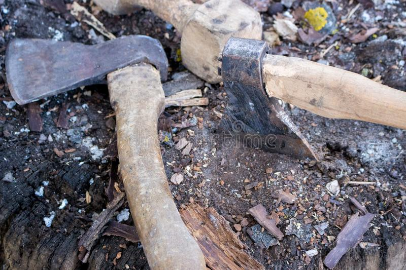 Two axes in stump tree. Danger concept. Rusty tool background. Wooden axe closeup. Cold weapon concept.Firewood concept royalty free stock image