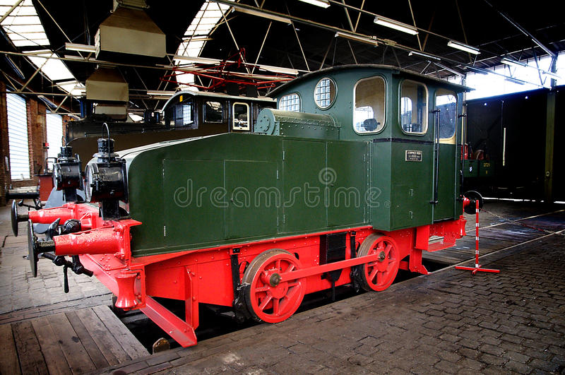 Two-axle shunting locomotives. In the Bochum Dahlhausen Railway Museum - GermanynThe Eisenbahnmuseum Bochum-Dahlhausen is a railway museum situated south of the royalty free stock photo