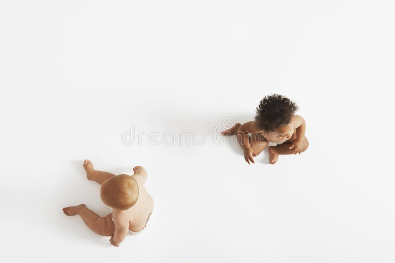 Two Babies On White Background royalty free stock photo