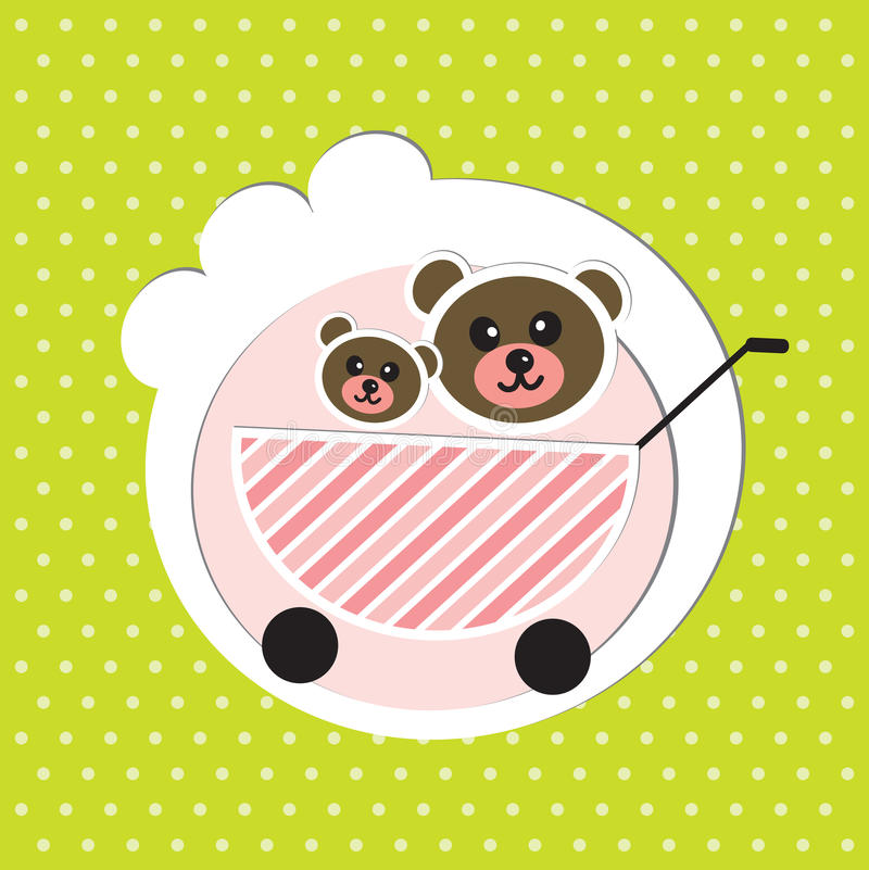 Download Two Baby Bears Brothers In Baby Carriage Stock Vector - Illustration: 28892226