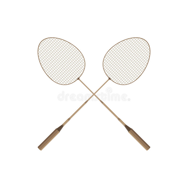 Two badminton racket and shuttlecock sport game leisure competition feather fitness vector. Action leisure fun equipment. Professional racket. Logo stock illustration