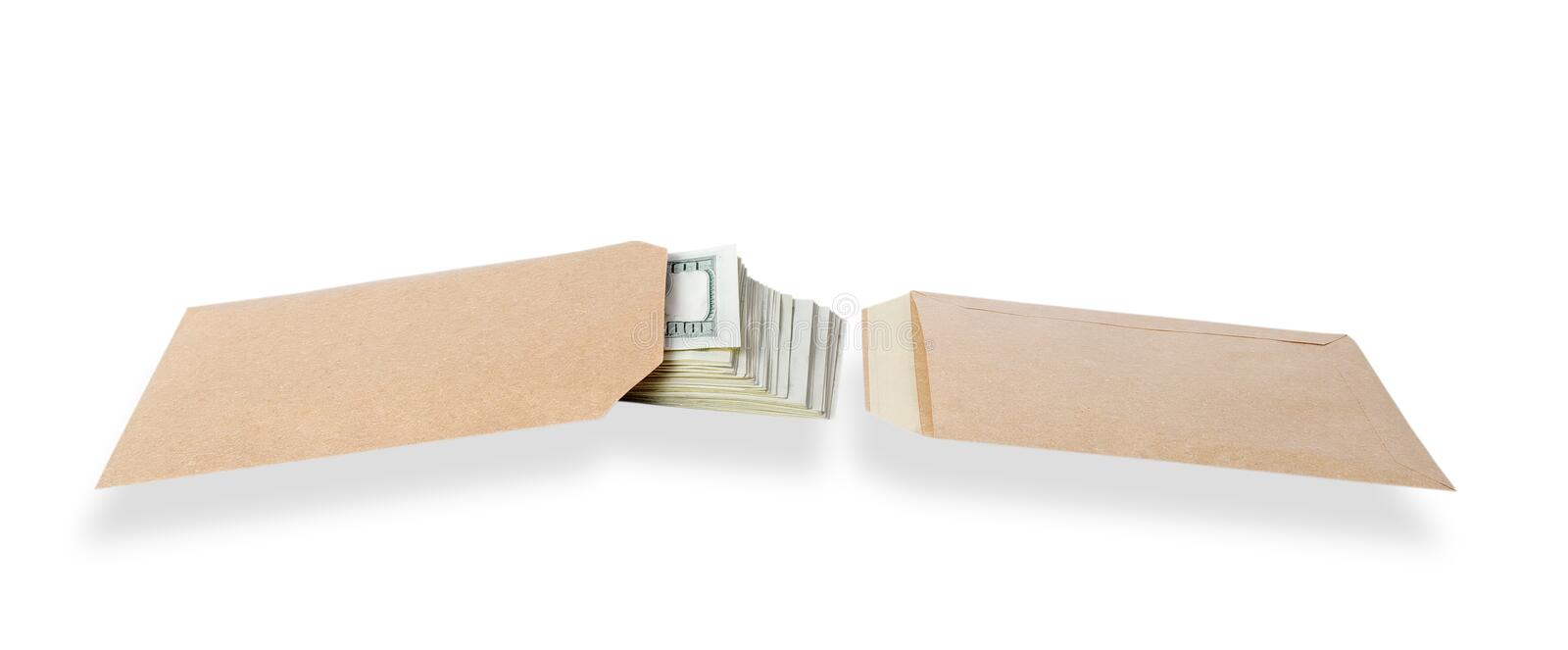 Two bags and money. royalty free stock photos