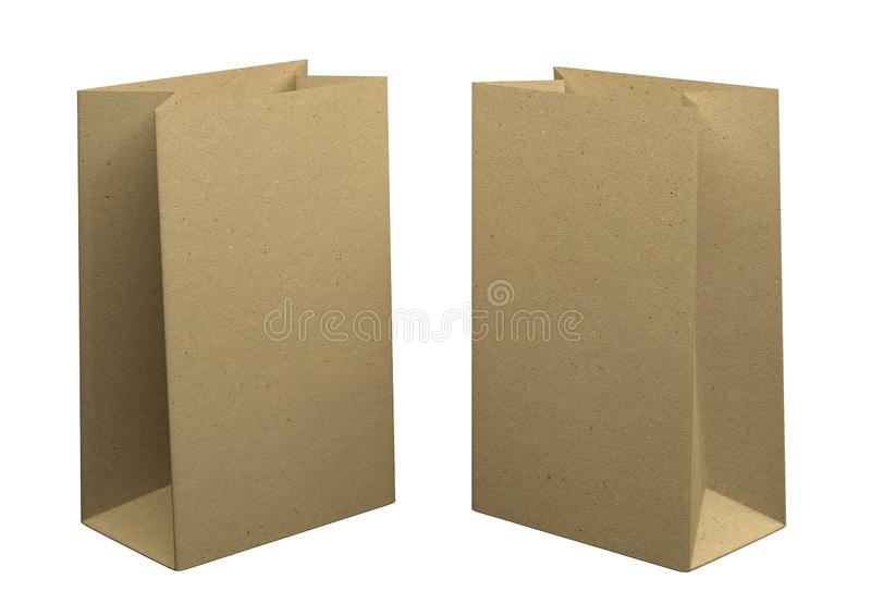 Two Bags of recycled kraft paper, isolated on white background. Mockup for design. 3D Rendering royalty free illustration