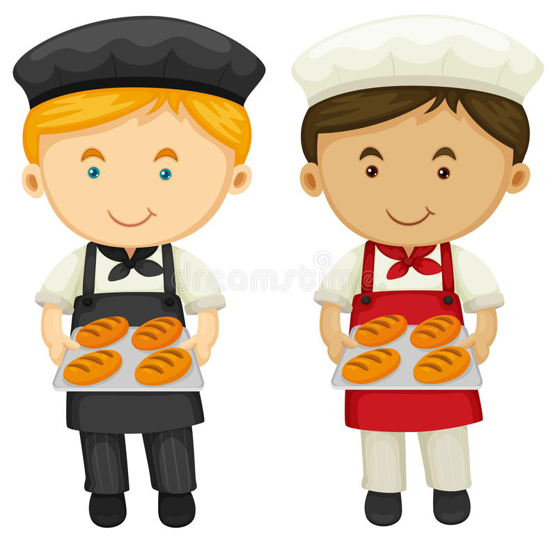 Two bakers with fresh baked bread royalty free illustration
