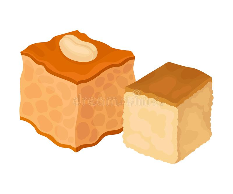 Two baklava cubes. Vector illustration on white background. Two baklava cubes. One is decorated with nuts. Vector illustration on white background stock illustration
