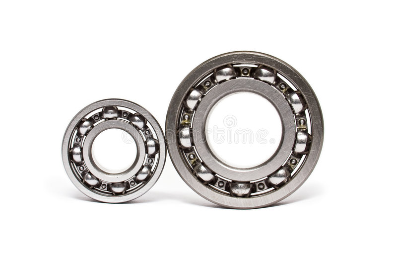 Two ball-bearings. Isolated on white stock photos