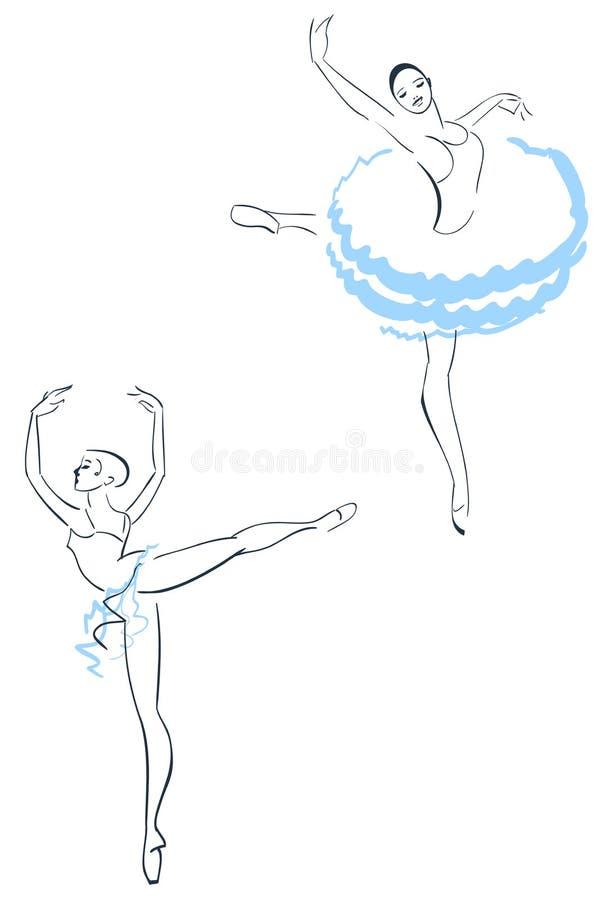 Two ballerinas stock illustration