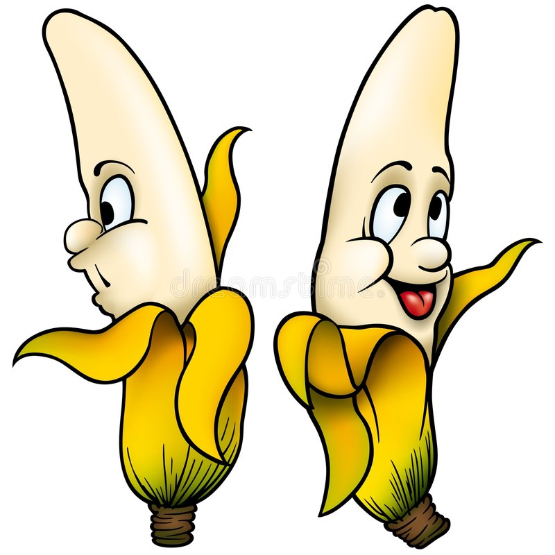 Two Bananas. High detailed and coloured cartoon illustration royalty free illustration