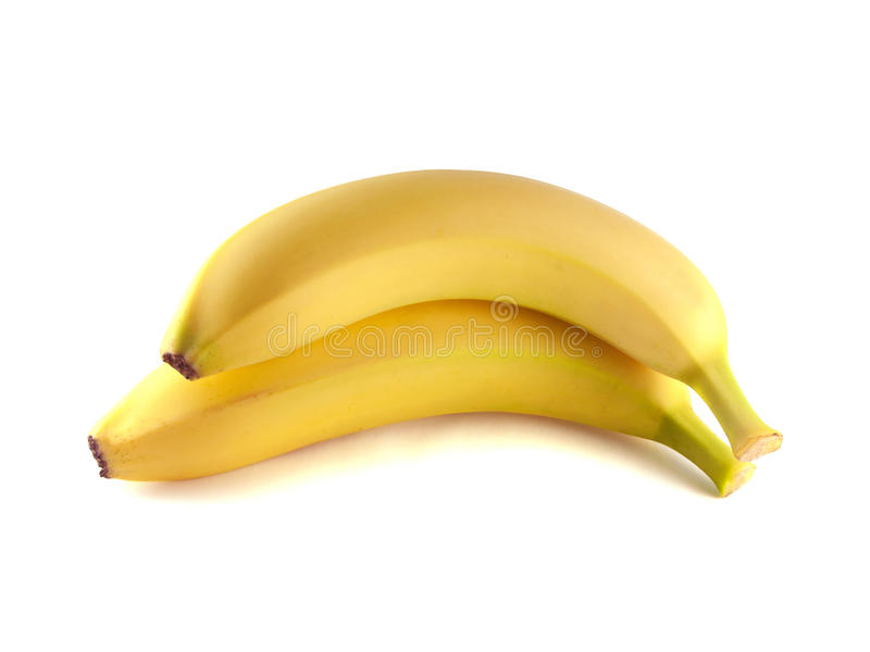 Two bananas isolated on white background (ripe). stock images