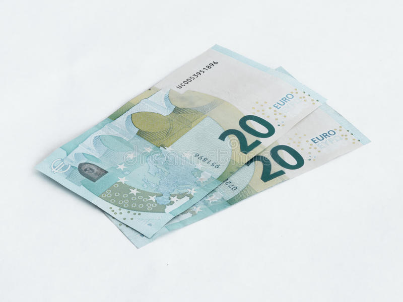 Two banknotes worth 20 Euro isolated on a white background stock photos