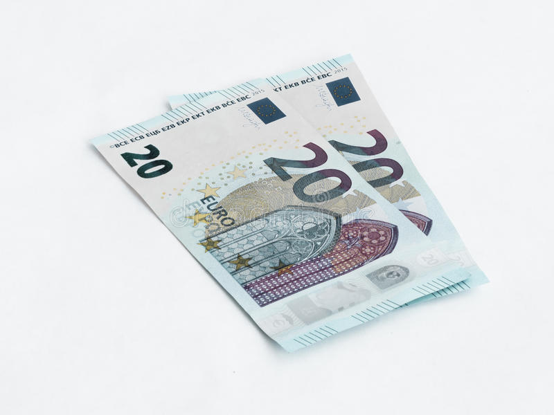 Two banknotes worth 20 Euro solated on a white background. Two banknotes worth 20 Euro isolated on a white background royalty free stock photo