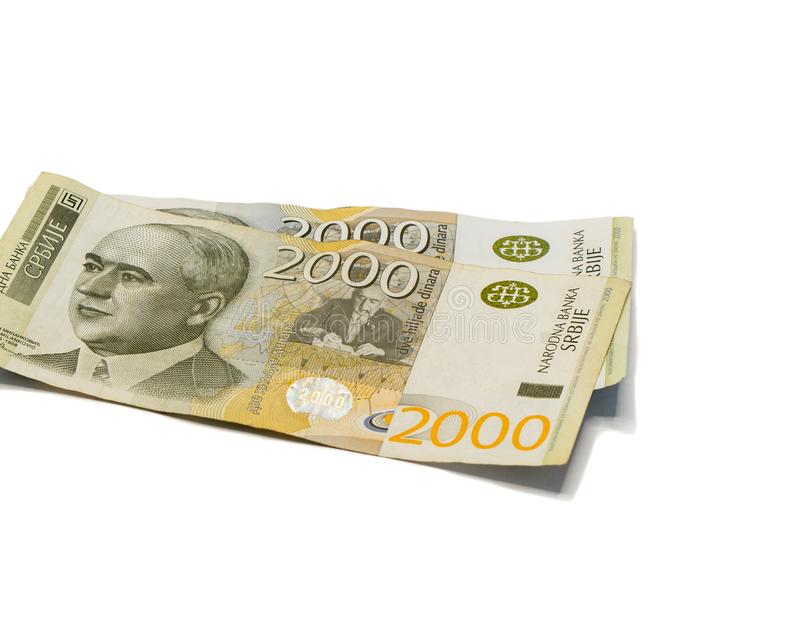 Two  banknotes worth 2000 Serbian Dinars with a portrait of a climate scientist Milutin Milankovic isolated on a white background. Two banknotes worth 2000 stock photos