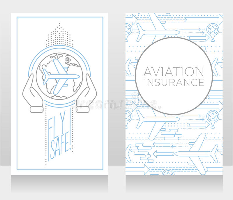 Two banners for air safety and aviation insurance. Vector illustration stock illustration
