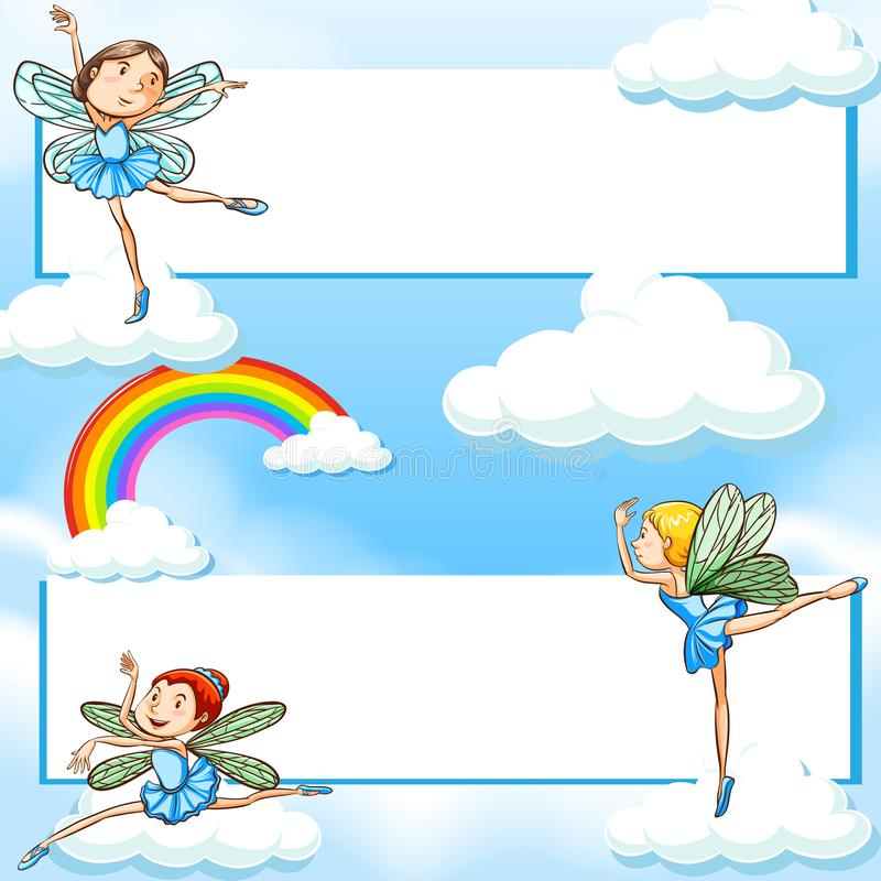 Two banners with fairies flying in blue sky vector illustration
