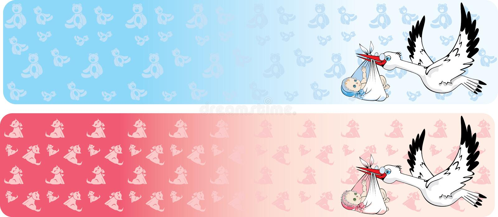 Two banners with stork delivering baby. Vector illustration of two banners with stork delivering newborn baby stock illustration