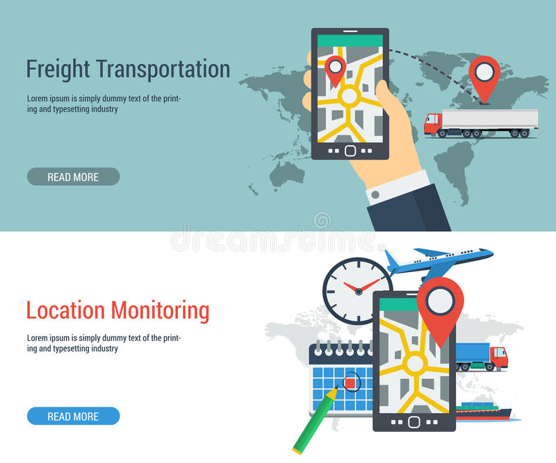 Monitoring Of Freight Transport Concept Stock Illustration