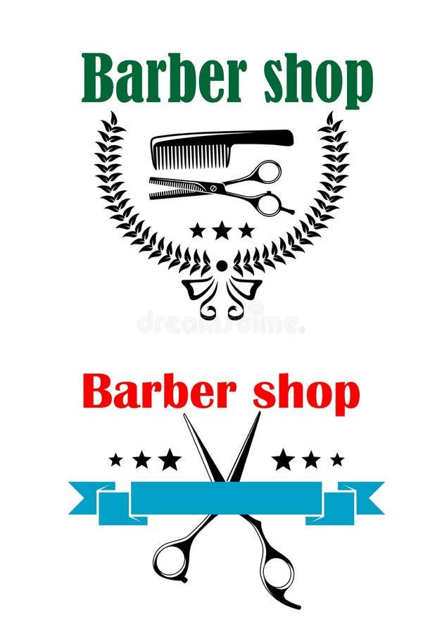 Two barber shop emblems or signs stock illustration