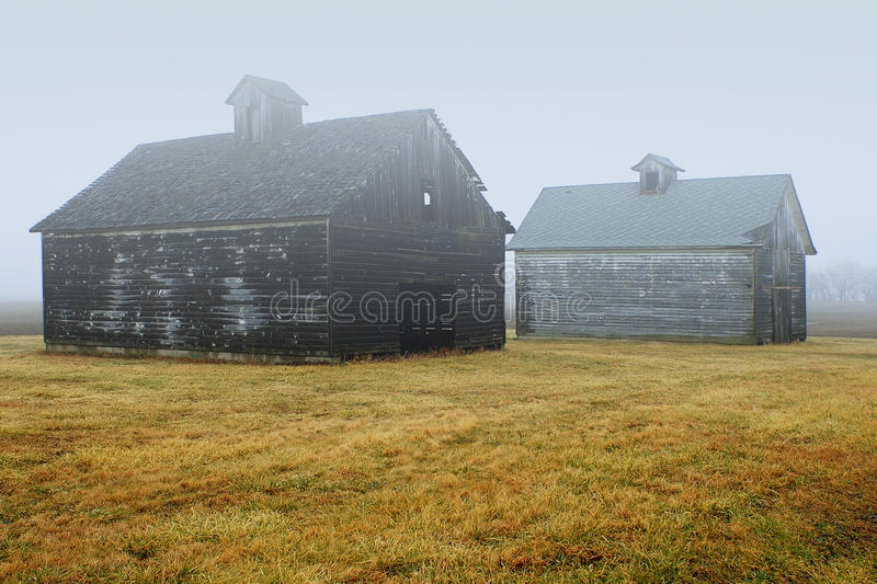 Two Barns in fog stock photography