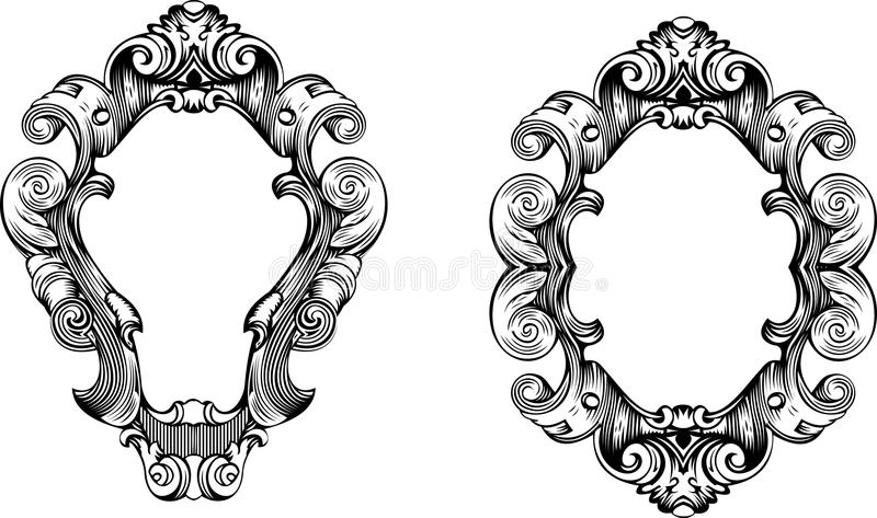 Two Baroque Ornate Curves Engraving Frames. Two Elegant Baroque Ornate Curves Engraving Frames royalty free illustration