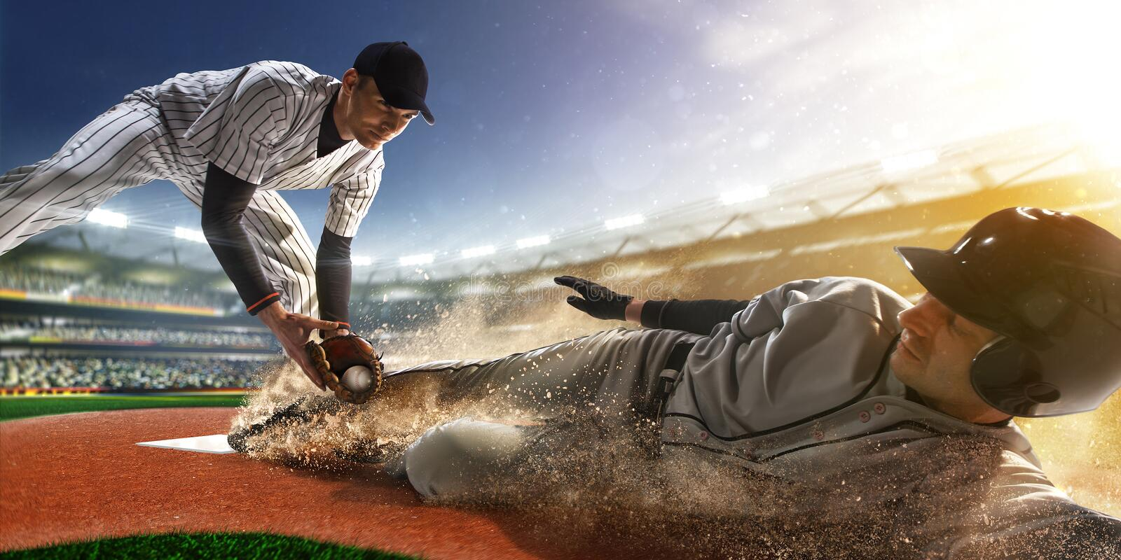 Download Two Baseball Player In Action Stock Photo - Image of national, ball: 63400648