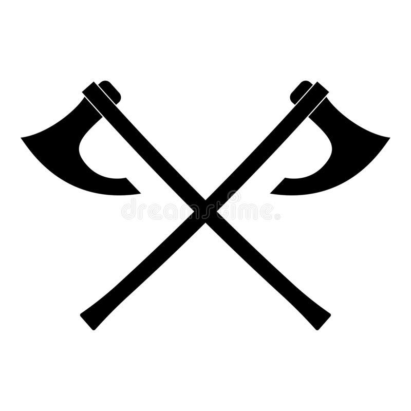 Two battle axes vikings icon black color vector illustration flat style image. Two battle axes vikings icon black color vector illustration flat style simple vector illustration