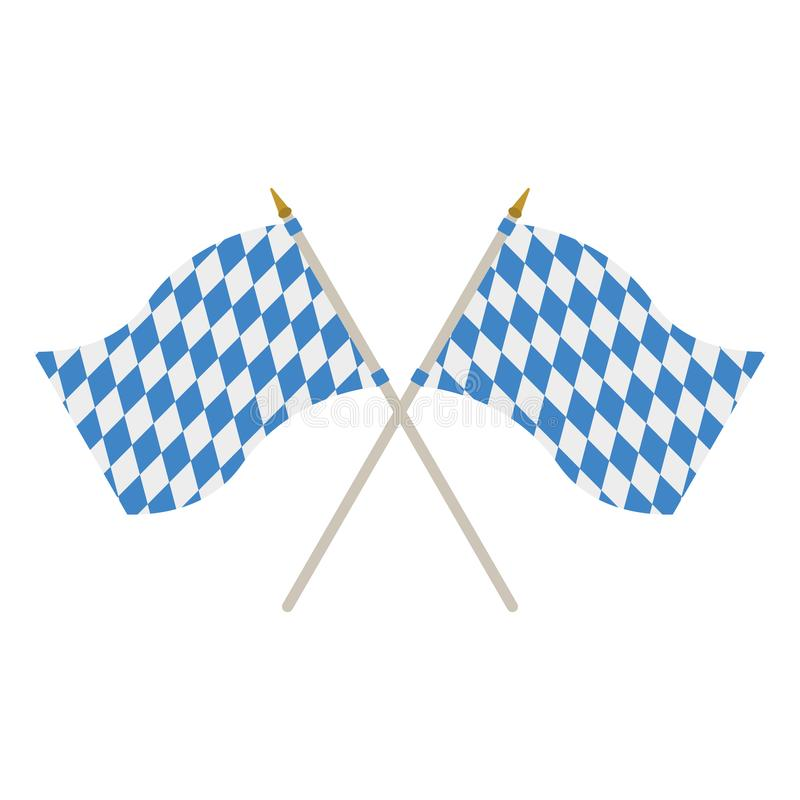 Two Bavarian Flags. Two waving Bavarian flags isolated on white background royalty free illustration