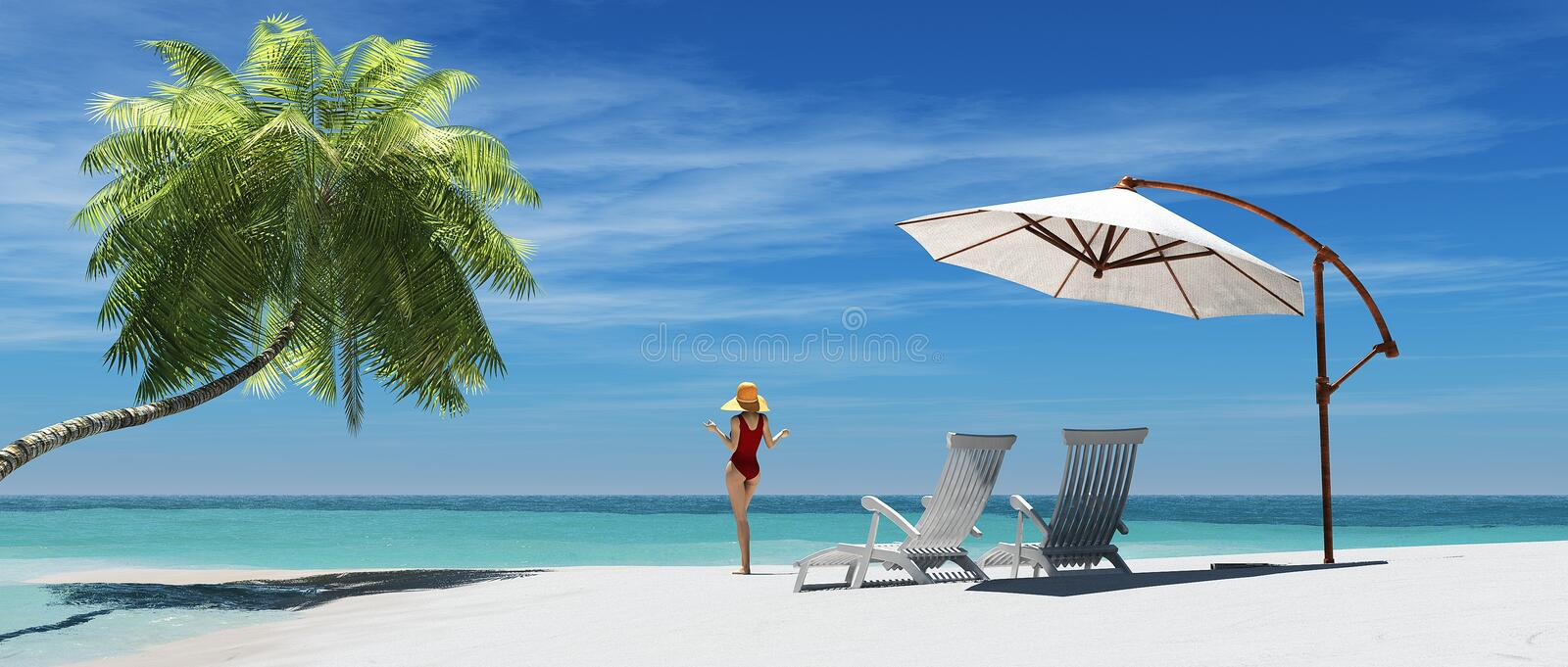 Two beach chairs royalty free illustration
