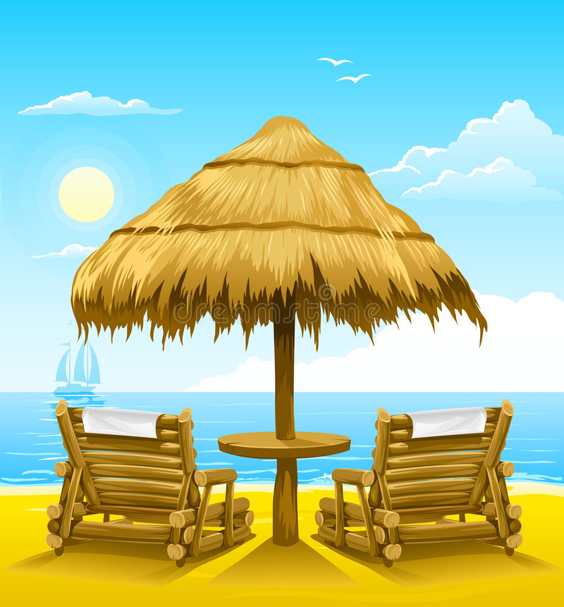Two beach deck-chairs under wooden umbrella vector illustration