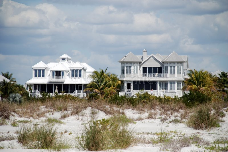Two beach houses stock image