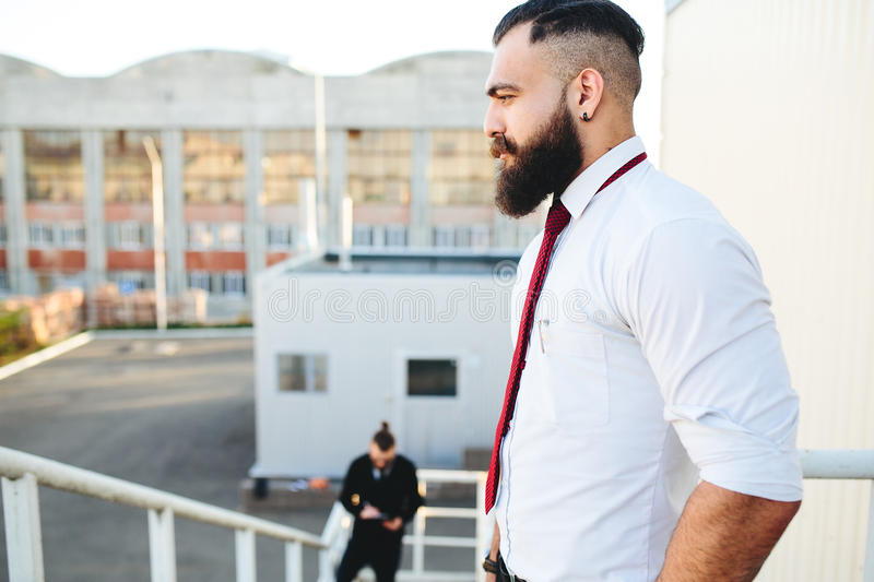Two bearded businessman looking at something stock photos
