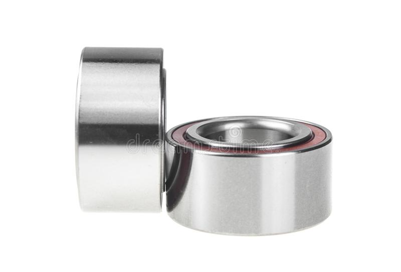 Two bearings on the white background. Two ball bearings, isolated on white background with clipping path royalty free stock image